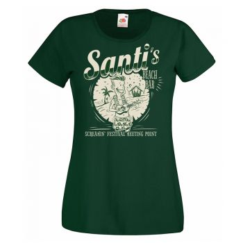 SANTI'S BEACH BAR GIRL T-SHIRT - GREEN